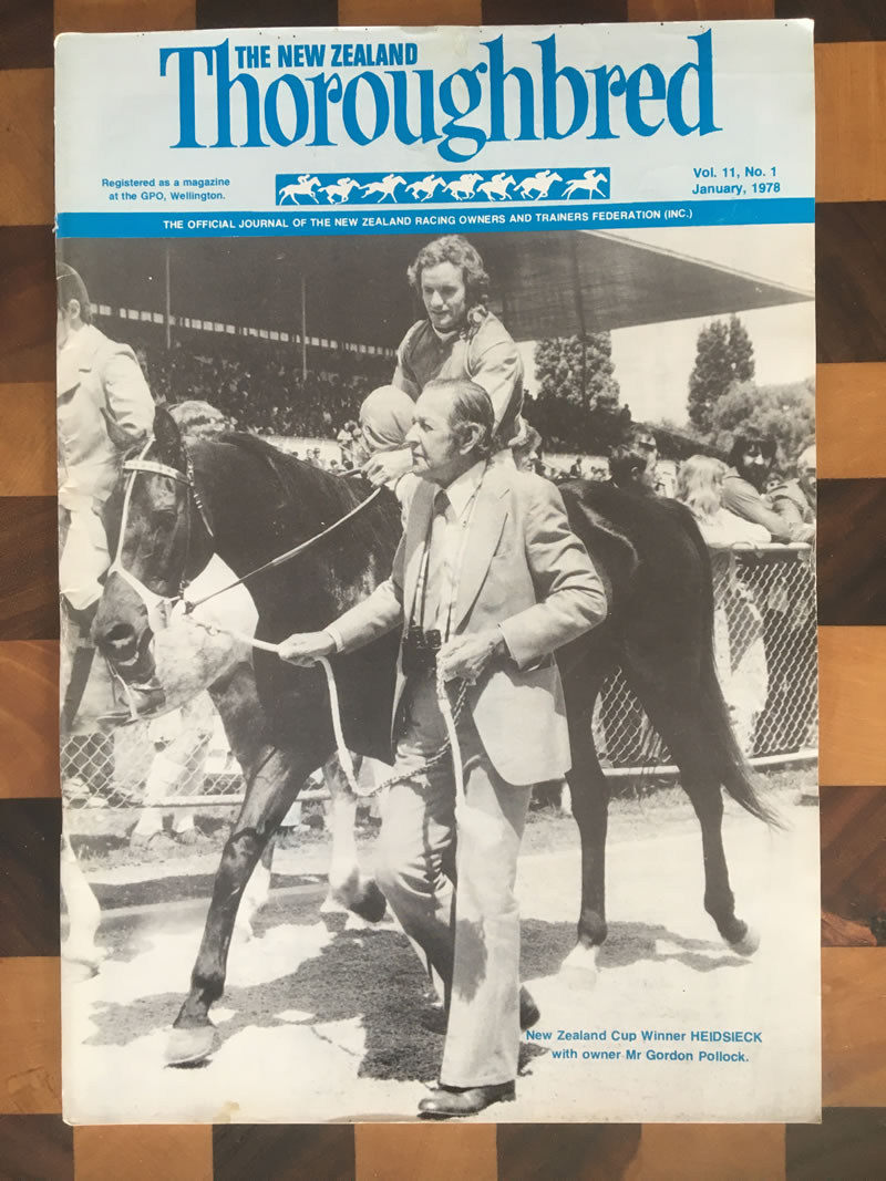 Vol. 11, No. 1, January 1978 – NZ Cup winner Heidsieck with owner Mr Gordon Pollock.
