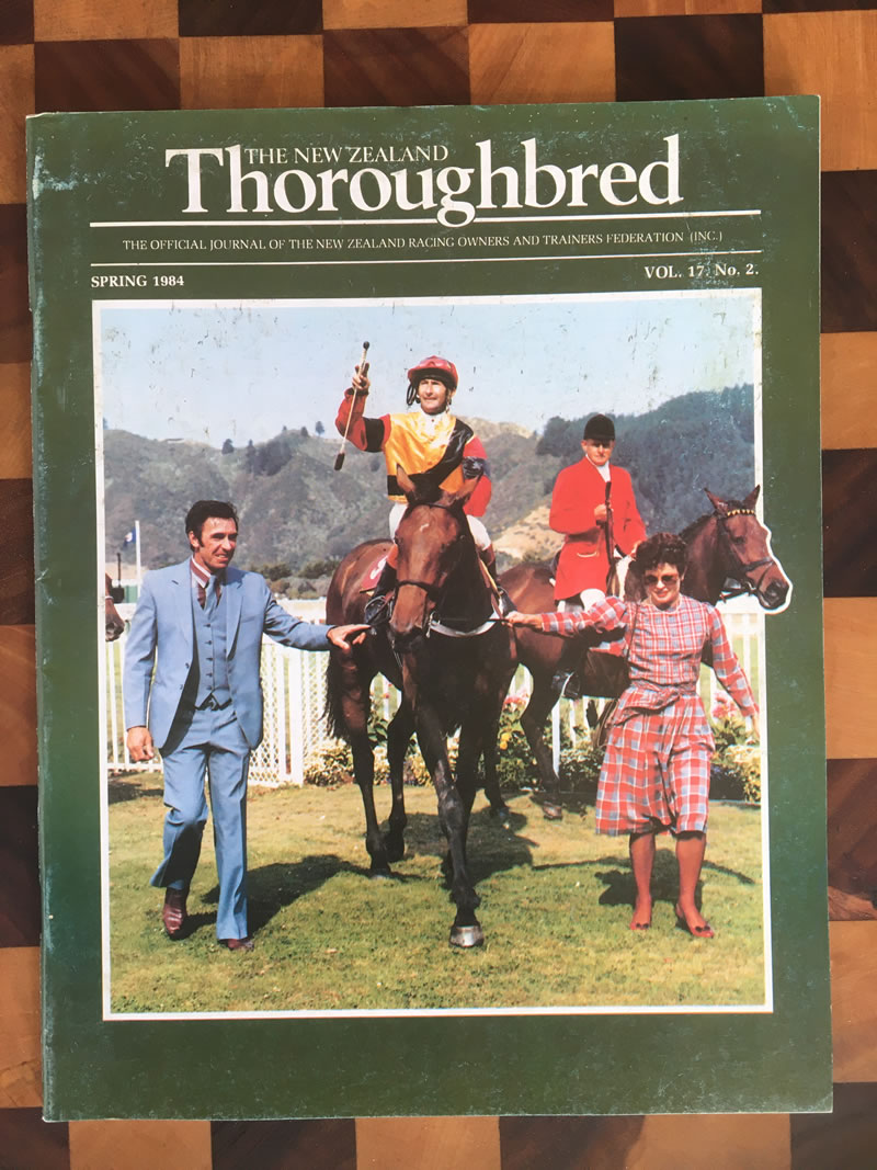 Vol. 17, No. 2, Spring 1984 – Flanked by trainer Neville Atkins and part-owner Eileen Mackley, Tony Williams returns to scale on Secured Deposit after winning the NZ St Leger at Trentham. (Tragically, Tony suffered a crippling fall in January 1984).